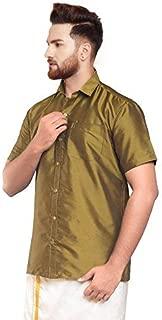 SJS-Men's Half Sleeve Solid Art Silk Shirt (Dark Goldenrod, 36)