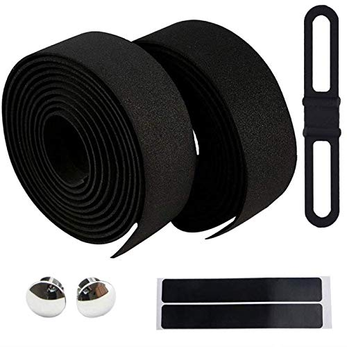Road Bike Handlebar Tape Black Bar Tape Cycling with Adhesive, Comfortable and Durable Racing Bicycle Handlebar Grip Tape, Non-Slip and Wear-Resistant Bike Grips Tape, No Odor Bike Accessories