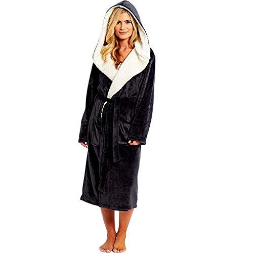 URIBAKY- - Albornoz para mujer de invierno, de peluche alargado, con manga larga, vestido de noche, pijama perezoso Negro M