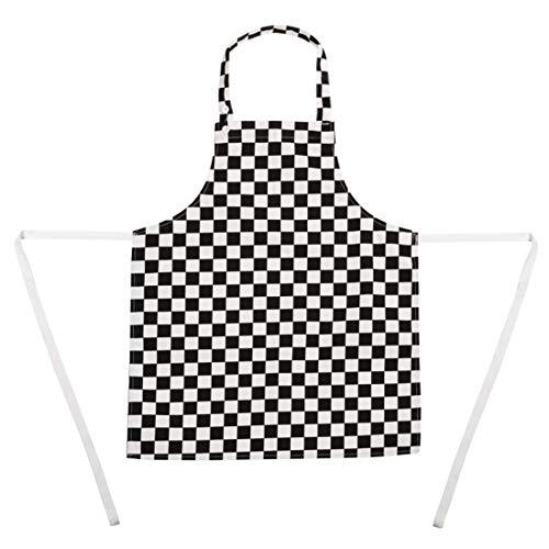 Whites Chefs Apparel kinderslabbetje groot schort zwart en wit geruit polykatoen.