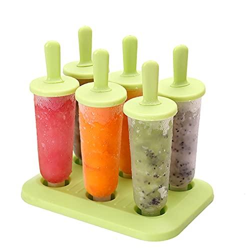 Eisformen, 6 Pack Eis am Stiel Formen BPA Frei, Lebensmittelqualität Wiederverwendbare Eisform für Kinder und Erwachsene DIY