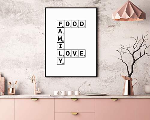 Zegen het eten Voor ons Voedsel Familie Liefde Print Eetkamer Decor Keuken Muur Art Home Decor Keuken DecorKeuken Teken Scrabble Print