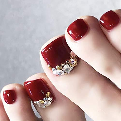 Brishow Uñas postizas de acrílico para pies Uñas postizas de cristal brillante...