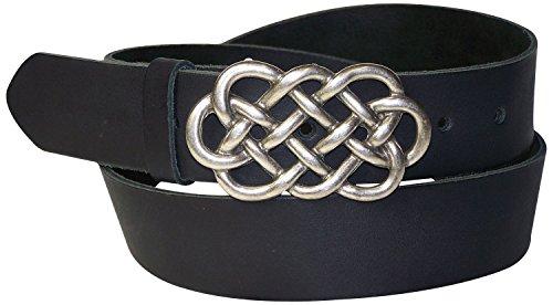 FRONHOFER keltischer Damengürtel 4 cm echt Leder keltische Gürtelschnalle silber Ledergürtel, 18220, Größe:Körperumfang 120 cm/Gesamtlänge 135 cm, Farbe:Schwarz