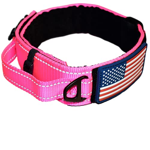 Dog Collar with Control Handle Quick Release Metal Buckle Heavy Duty Military Style 2' Width Nylon with USA Flag for Handling and Training Large Canine Male Or Female K9 (806C-PINKTAC)