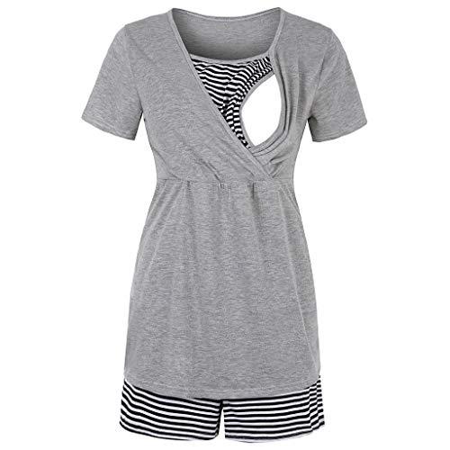 H.eternal(TM) - Conjunto de pijama de maternidad de manga corta para lactancia y lactancia