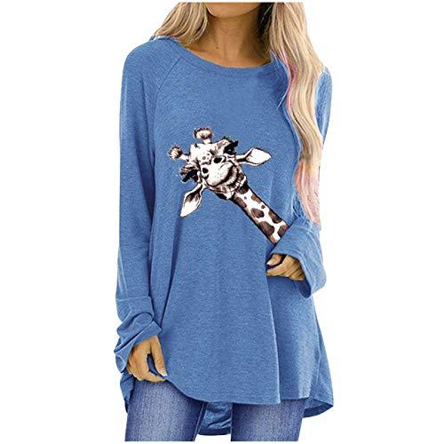 T-Shirt Top Bluse Frauen Herbst Spaß Giraffe Print Loose Round Neck Langarm (S,4Blau)