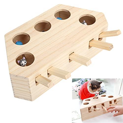 Semiter Katzenjagd Maus Spielzeug, Pet Toy Supply Pet Whack Mole Spielzeug mit 1 X Holzspielzeugleiter für Pet Whack Mole