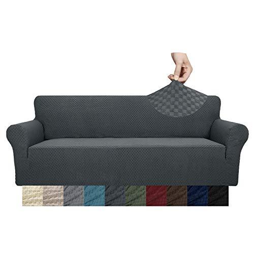 YUUHUM - Funda de sofá extra grande con diseño creativo, 1 pieza elástica para sofá de 3 cojines para sala de estar, mascotas, perros, muebles de gran tamaño con barra de...