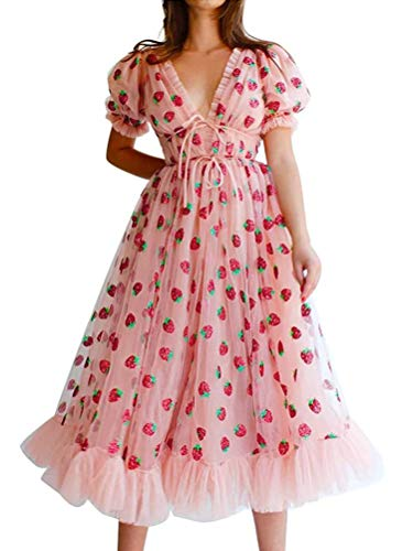 Onsoyours Damen Sexy Erdbeere Sweet Mesh Mode Kleid Casual Garn V-Ausschnitt Pleated Elegante Maxi-Rock A Rosa S