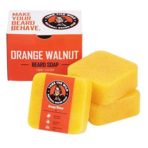 Tame the Wild Orange Walnut Beard Soap - Natural Beard Wash - Beard Shampoo & Conditioner - Exfoliating Face & Body Scrub - Made of Shea Butter & Coconut Oil - 3 Pack Set of 5oz Bars