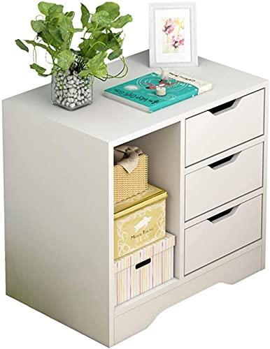 Nattduksvit, förvaringsskåp för hemmet med lådor, med 3 lådor och 1 öppet fack sängbord Sovrumsförvaringsbord (färg: vit)