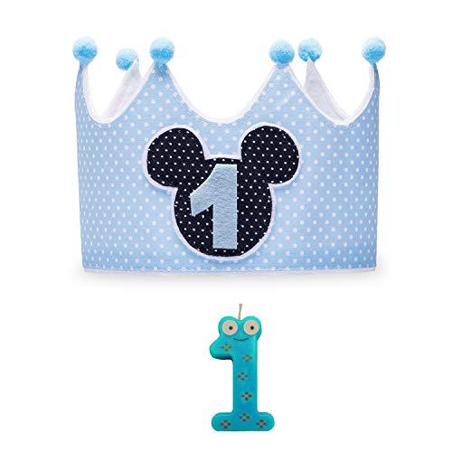 Kembilove Corona + Vela Primer Cumpleaños – Corona de Cumpleaños para Niño y Niña – Algodón y Fieltro de Máxima Calidad – Cómoda y Suave para la Piel – Ideal para Fotos Mickey Azul