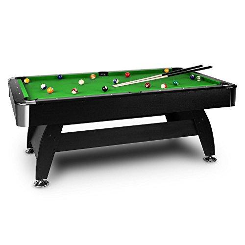 OneConcept Brighton Black - Billardtisch, Spieltisch, Pooltisch, MDF-Holz, grüne Bespannung, interner Ballrücklauf, 16 Kunststoffkugeln, 2 Queues, Kugeldreieck, 2 x Kreideblock, schwarz