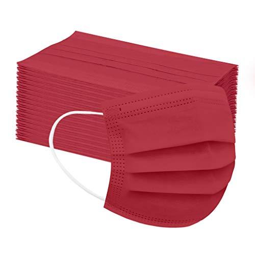 50 Stück Kinder Mund und Nasenschutz Atmungsaktiv Einmal-Mundschutz Mundbedeckung Staubs-chutz Bedeckung Multifunktionstuch Verstellbarer Half Face (50pc, Rot)