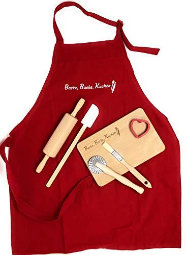 KATINGA Backe, Backe, Kuchen - tolles Backset für Kinder - inkl. Schürze, Nudelholz, Teigschaber, Teigrädchen, Pinsel, Ausstecher und Brettchen (7 teilig)