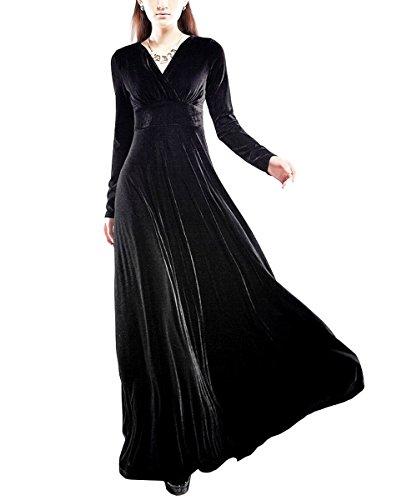 KAXIDY Damen Langes Kleid V-Ausschnitt Lange Langarm Samt Abendkleider Partykleider Cocktailkleider...