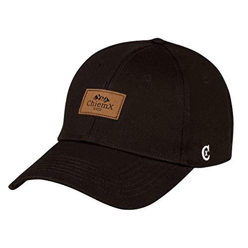 ChiemX Curved Cap - Schwarz - aus Baumwolle und mit Kunstlederpatch - One Size Kappe für Herren und Damen