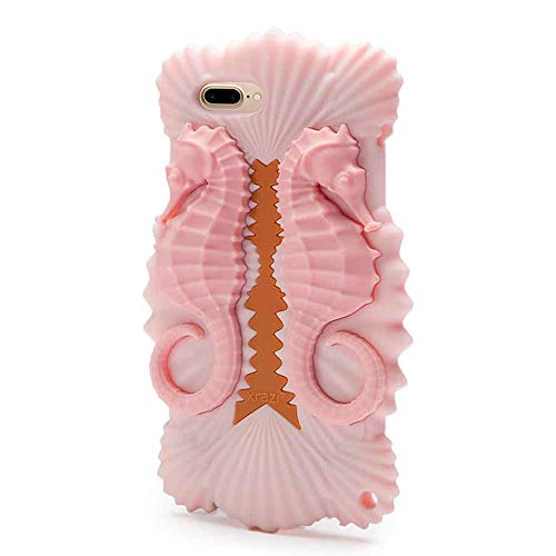 "Xrazi Sea Dragon Case for iPhones 7 Plus & 8 Plus, ""Pinksy"", Soft, Ergonomic, Protective, Premium Silicone Rubber, with Dark Metal Alloy Cross-Body Chain and Art Packaging"