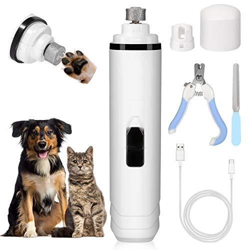 Fostoy Krallenschleifer für Hunde, Nagelfeile Katze Haustier Nagelschneider, Ultra Quiet USB Wiederaufladbare Dog Nail Clippers Klauenpflege für kleine mittelgroße Hunde Katzen