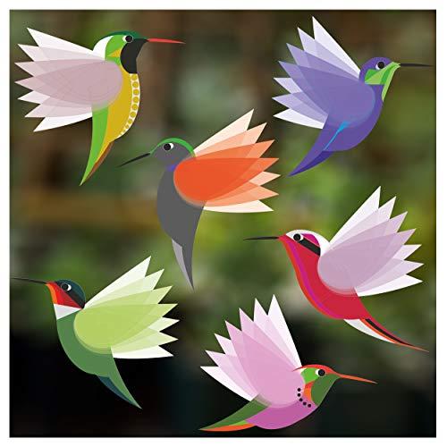 Stickers4 Vogel-Fensteraufkleber zum Schutz gegen Vogelschlag - sechs kleine schöne exotisch Kolibri-Glasaufkleber, doppelseitig und selbstklebend zum Schutz gegen Vogelkollisionen - Sechs Kleine