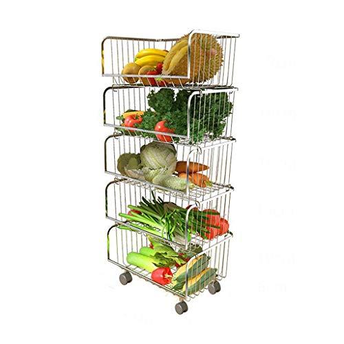 XT-Estante de verduras Estante de Almacenamiento de Verduras y Frutas Piso de Almacenamiento de Cocina Plástico Multicapa Plato de Almacenamiento de Frutas y Verduras for el hogar Estante de la Cesta
