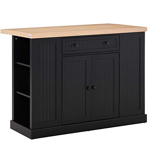 HOMCOM Fluted-Style Wooden Kitchen Island Cabinet with Drop Leaf, Drawer, Open Shelving, and Interior Shelving, Black