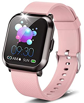 "DoSmarter Fitness Watch, 1.3"" Touch Screen Smartwatch with Heart Rate Blood Pressure Monitor, Waterproof Fitness Tracker with 10 Sport Modes, Step Calories Counter, and Sleep Tracking for Women Men"