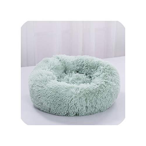Dog Bed Pet Kennel Round Fleece Lounger Cat Sleeping Bag Winter Warm Cushion Basket Mat for Small Large Dog Super Soft-Light Green-50X50Cm