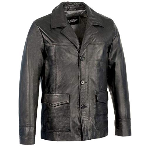 Milwaukee Leather SFM1870 Men's Black Button Closure Car Coat Leather Jacket - X-Large