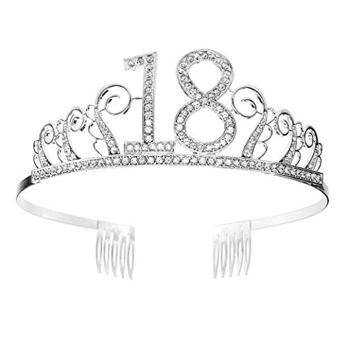 18 Geburtstag Krone Diadem Tiara mit Haarkamm Kristall Strass Silber Geburtstagsgeschenk zum 18 Jahre für Frauen Prinzessin Party Supplies und Dekorationen mit Kristall Silber