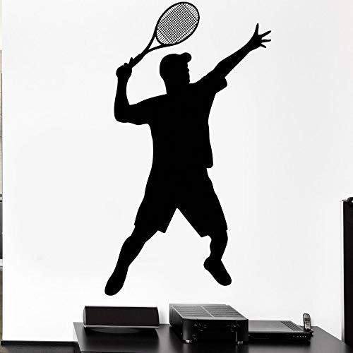 zxddzl Tenis Deporte Tatuajes de Pared Bola de la Bola Raqueta Juego de Suministro Etiqueta de la Pared Gimnasio Decoración Tenis Deportes Palyer Vinilo Arte de la Pared AY1002-114x66 cm