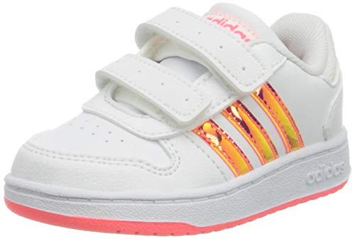 adidas Hoops 2.0 Cmf I, Scarpe da Ginnastica Unisex-Bambini, Ftwr White/Ftwr White/Signal Pink, 26 EU