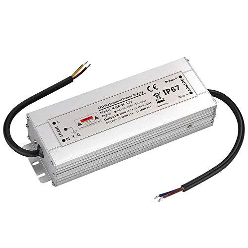 LED Trafo 12V 200W 16,7A IP67,geeignet für LED Stripes und Leuchtmittel,Upgrade Transformator Netzteil Driver 230V auf DC12V Wasserdicht