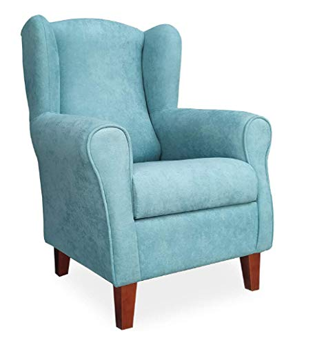 Gasten a gusto Sillón Butaca Orejera- Tela Anti-Manchas (Acualine), tamaño reducido para salón o Dormitorio. (Medidas : 103 * 74 * 78 cm.) para Ver la TV, Leer o Lactancia.… Azul