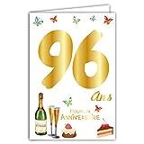 Carte Heureux ANNIVERSAIRE 96 ans avec un texte à l'intérieur - Bouteille Flûtes Champagne Vin Pétillant Gâteau Fraise Cerises Papillons