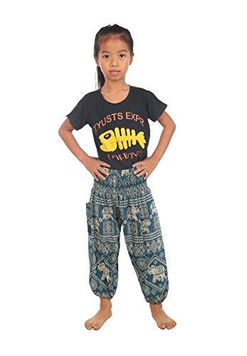 Lofbaz Bébé Hippie Gypsy Child Timbre d'éléphant Thaïlandais Pantalons Bohémiens Teal Green Taille 6-9M