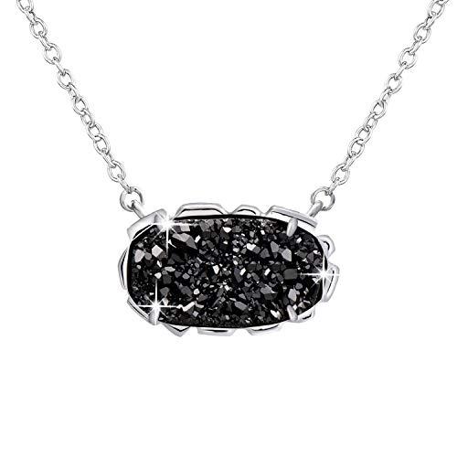 Collar con colgante de ángel de cuarzo negro para mujeres y niñas, brillante piedra drusa, regalo de joyería de Navidad, delicado amor para siempre