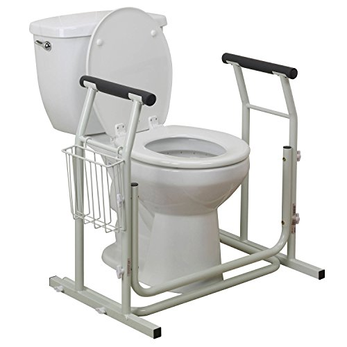 Toilet Safety Frames & Rails with Adjustable Height Bathroom Potty Safety Assist Frame w/Grab Bars & Stable Support Railings for Elderly, Senior,...
