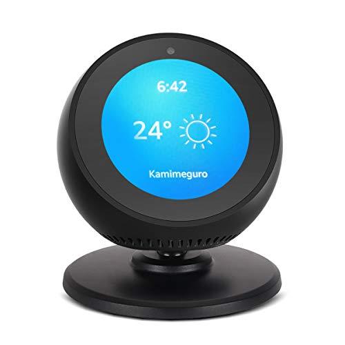 Echo Spot Ständer, Anpassen von Echo Gesicht Nach Oben und Unten, Einstellung des Multi-Betrachtungswinkels um 360° Drehbar, Halterung mit Magnetfuß für Amazon Echo-Spot, Schlafzimmerzubehör (schwarz)