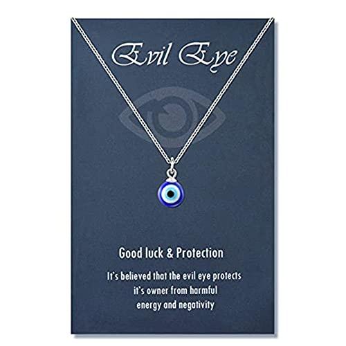 nvbmcxern Runde Tropfenform Evil Eye Anhänger Halskette Goldene/Silberne Kette Türkisch Schützen Sie Glückskette für Frauen Männer Geschenke blaues Auge Halskette für Frauen Männer