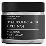 Hyaluronic Acid and Retinol Night Cream - Hydrating Face and Neck Moisturizer for Anti Aging, Wrinkle, Acne, Firming and Dry Skin - Organic Facial Cream for Women, Men and all Skin Types - 2 Fl Oz