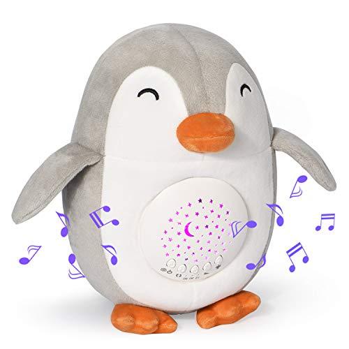 Momcozy Pinguin White Noise Machine, Wiederaufladbarer Nachtlicht-Projektor, Stern-Projektor, Baby-Schlafhilfe, Musik-Spielzeug mit 15 Beruhigenden Geräuschen, Nachtlampe mit Weinen-Sensorfunktion uvm