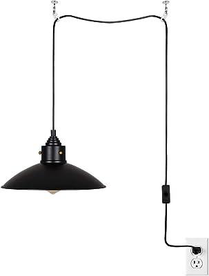 "Catalina Lighting 22738-001 Metal Farmhouse Pendant Ceiling Light, 13"" Plug-in, Black/Gold"