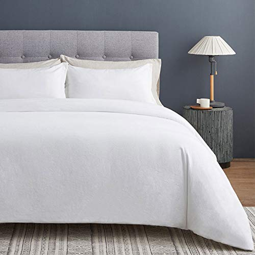 VEEYOO Duvet Cover Set Single 100% Cotton - White Solid Design with Zipper Closure & Corner Ties Duvet Cover 135x200cm with 1 Pillow Shams 50x66cm, Ultra Soft Washed Cotton Quilt Cover Sets