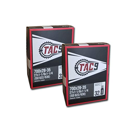 TAC 9 Tube, 700c x 28-35 (27 x 1-1/8-1-1/4) Regular Schrader Valve, 32mm (ISO/ETRTO 622/630) - Two Pack Bundle, Savings