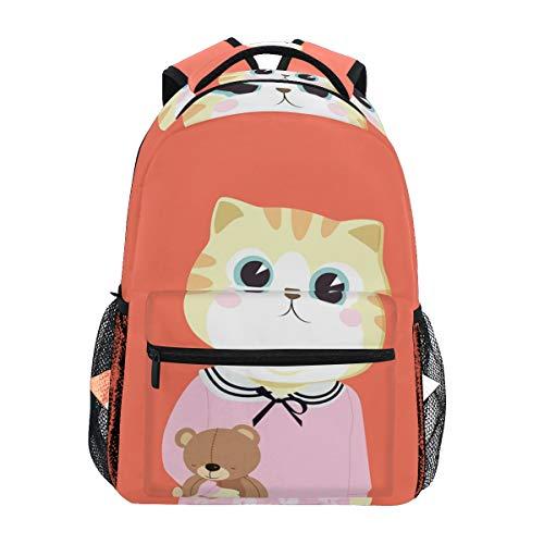 Chat Drôle - Zaino a tracolla per studenti, motivo: gatto, colore: arancione