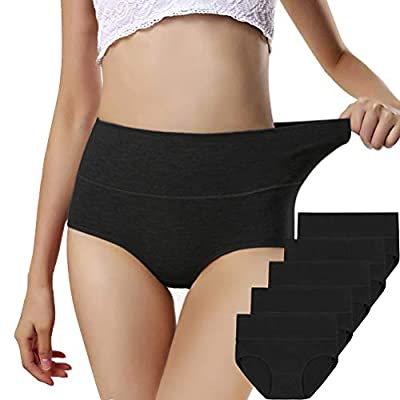 Women panties 2-5 pack, Soft Cotton Tummy Control High Waist Breathable Solid Color Briefs Panties for Women (5 Pack in 5 Black Colors, XXL)