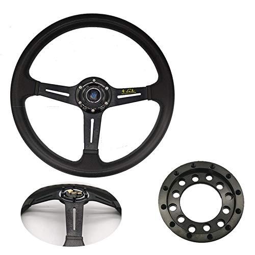 YUSHAOLI Ysli®. 14 Pulgadas ND PU Carreras de Carreras Ruedas de dirección de maíz Profundo Drifting Sport Wheel us Style Adapter para Logitech G25 G27 (Color : Black A Set)