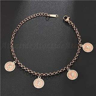 PHLPXL Atoztide Classic 1998 Australia Queen Elizabeth Ii Coin Bracelet Women Charm Rose Gold Adjustable Letter Bangle Souvenir